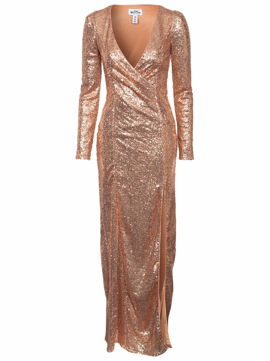 guldig paljettklänning nyår