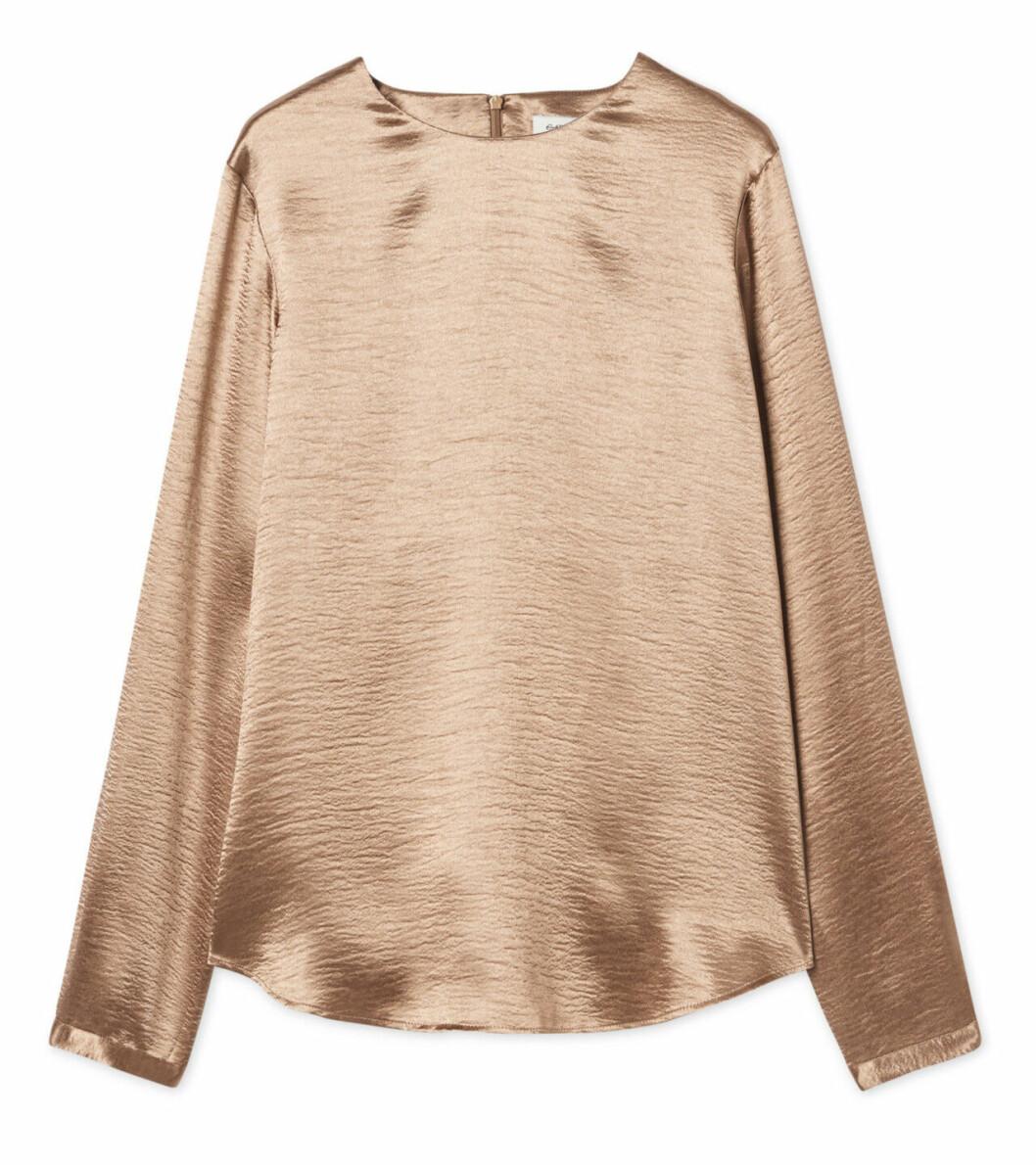 Guldfärgad blus med lång ärm för dam till 2019