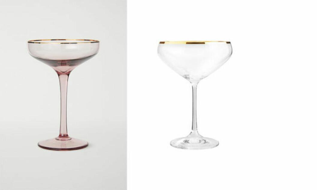Champagnekupor med guldkant från H&M Home och Cervera.