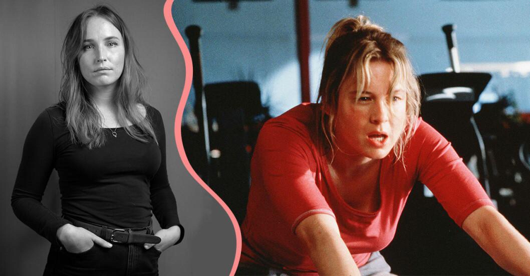 Delad bild, den ena på journalisten Sofia Börjesson och den andra på karaktären Bridget Jones på en motionscykel.