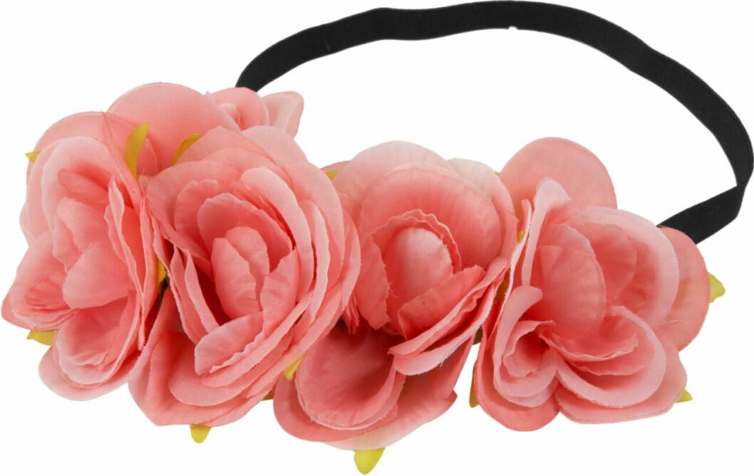 Hårband med stora rosa blommor till midsommar 2019