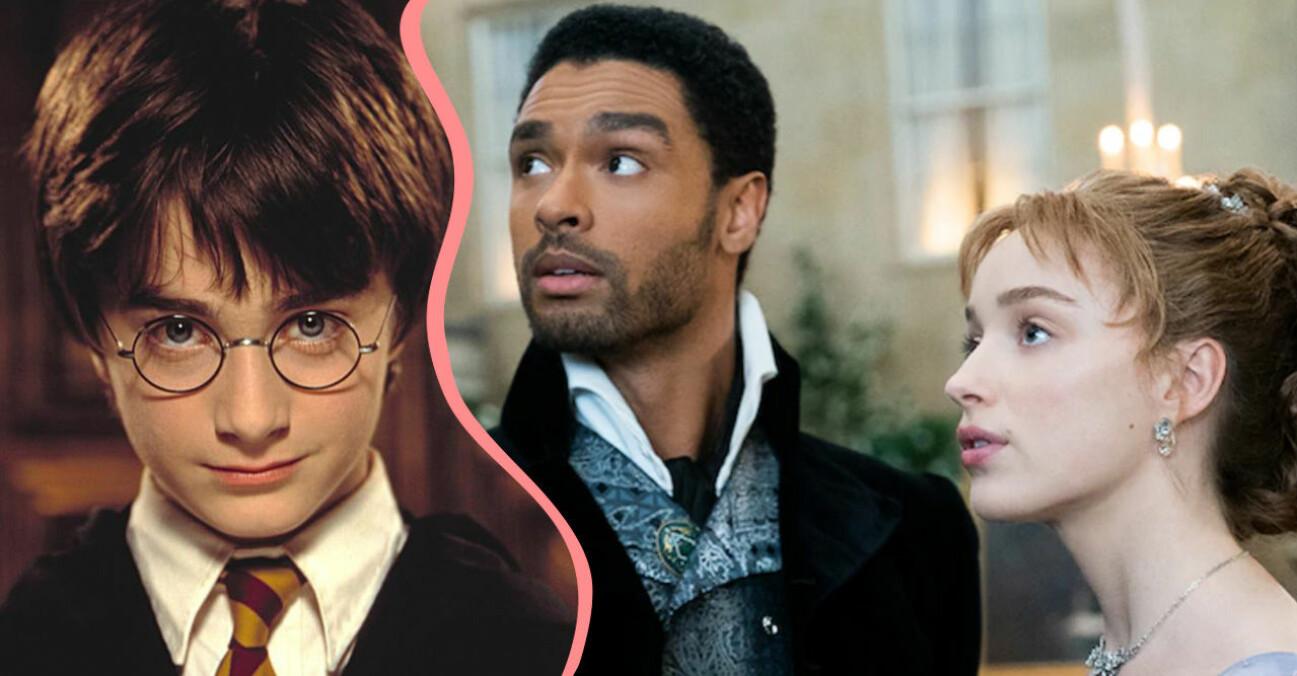 Harry Potter och paret Simon och Daphne i Familjen Bridgerton.