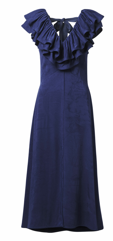 H&M conscious exclusive SS20 – blå klänning med volanger