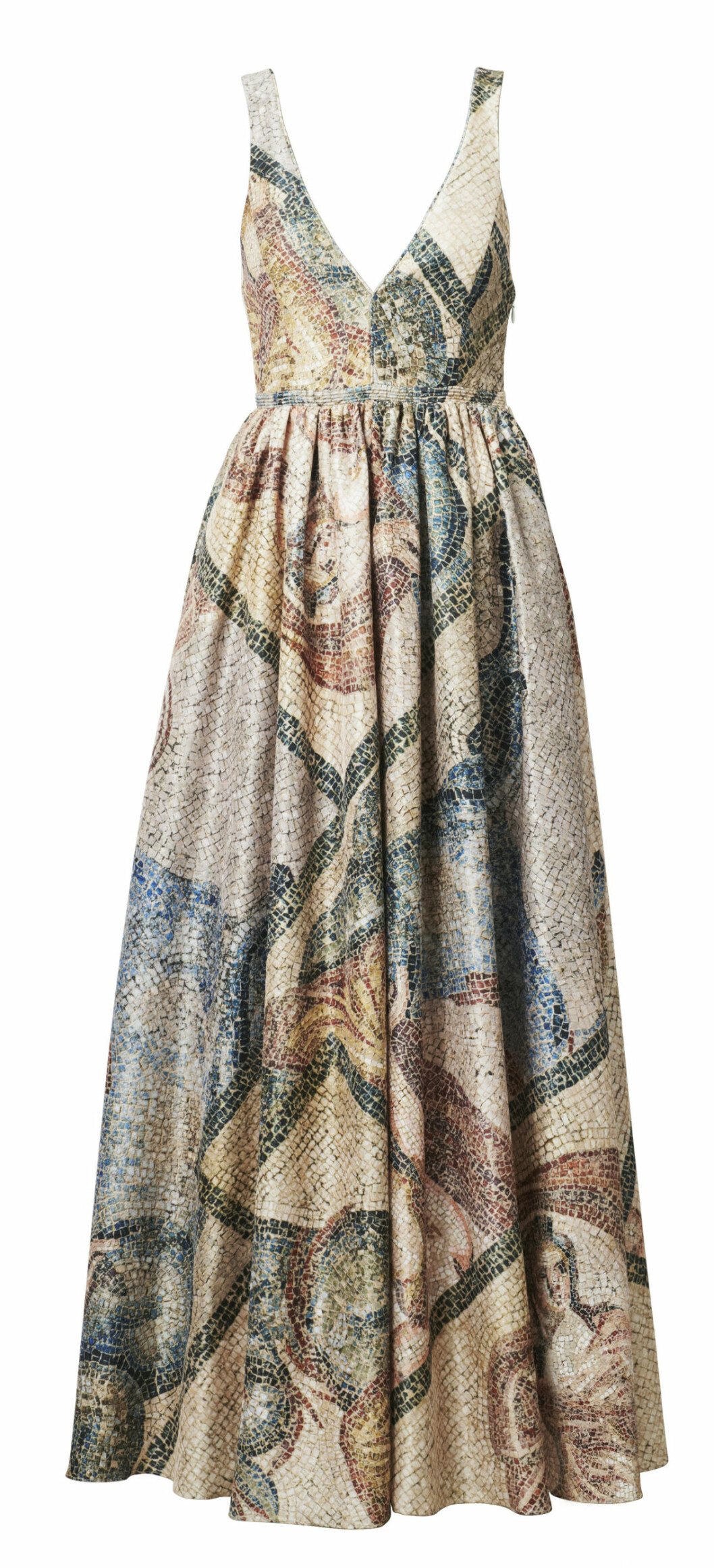 H&M conscious exclusive SS20 – mönstrad klänning med v-ringning