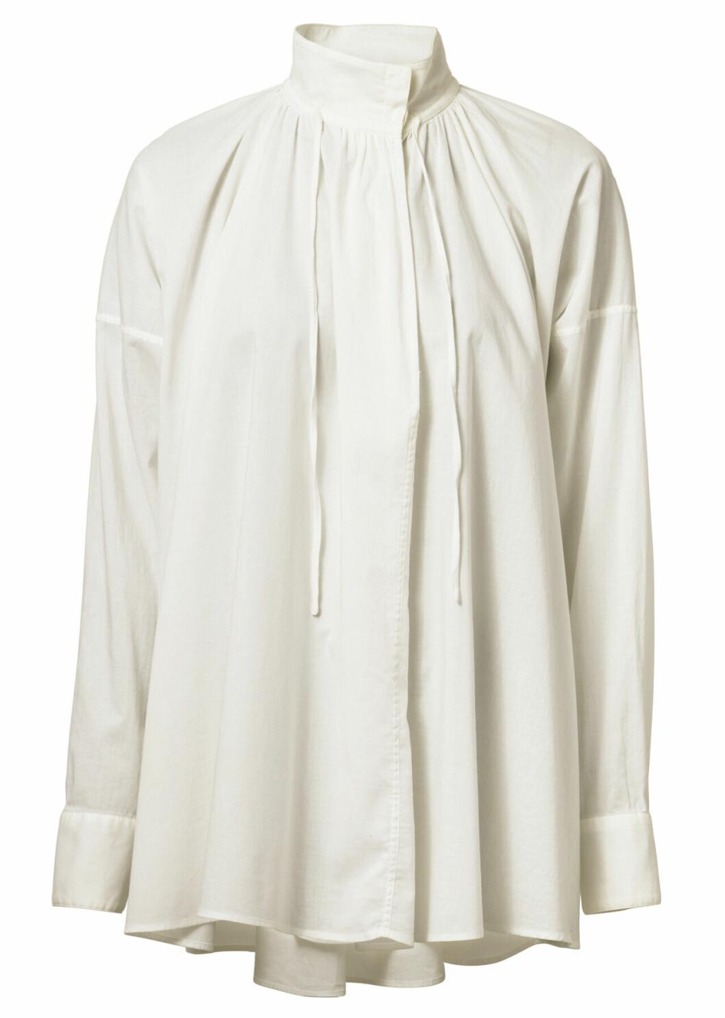 H&M conscious exclusive SS20 – vit blus med hög krage
