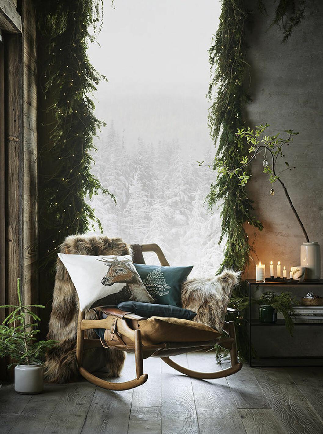 H&M Homes jul har rustika inslag av fuskpäls