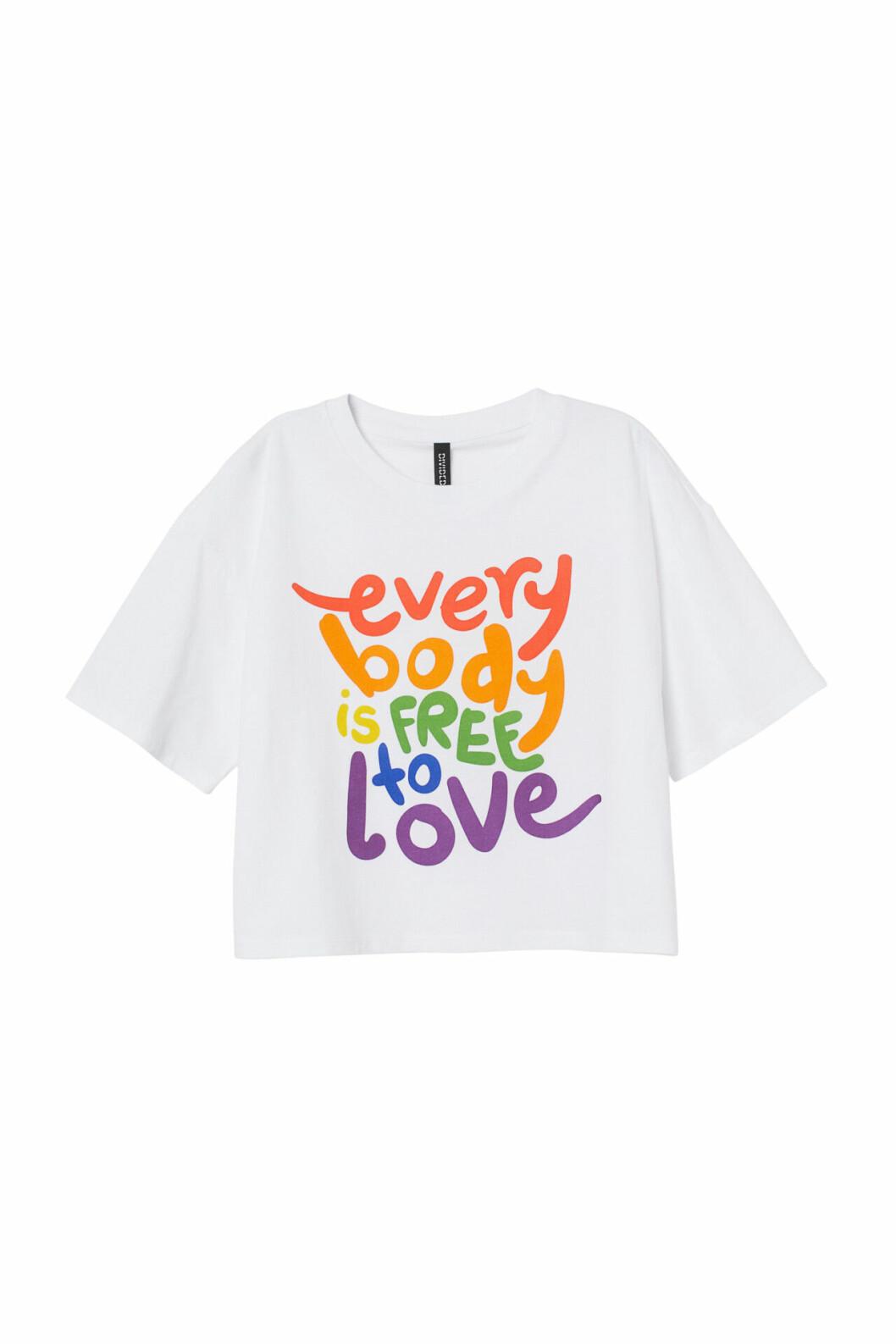 H&M:s pridekollektion 2019 – vit t-shirt med tryck