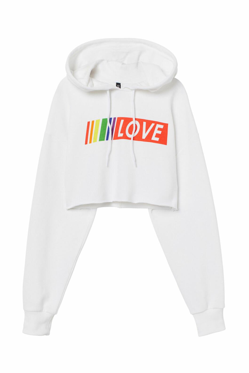 H&M:s pridekollektion 2019 – vit hoodie med print
