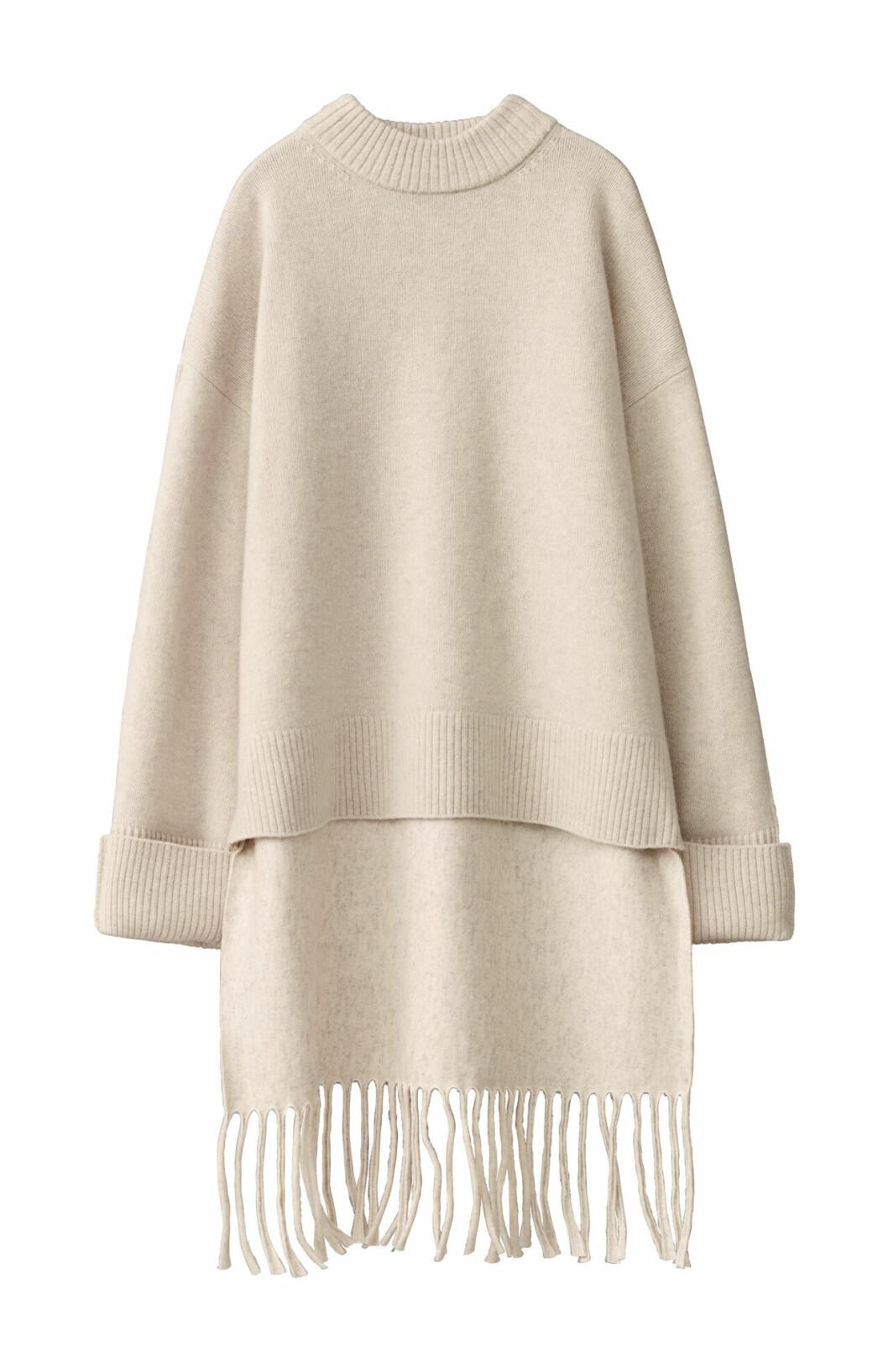 H&M Studio höstkollektion aw 2019 – vit stickad tröja med fransar