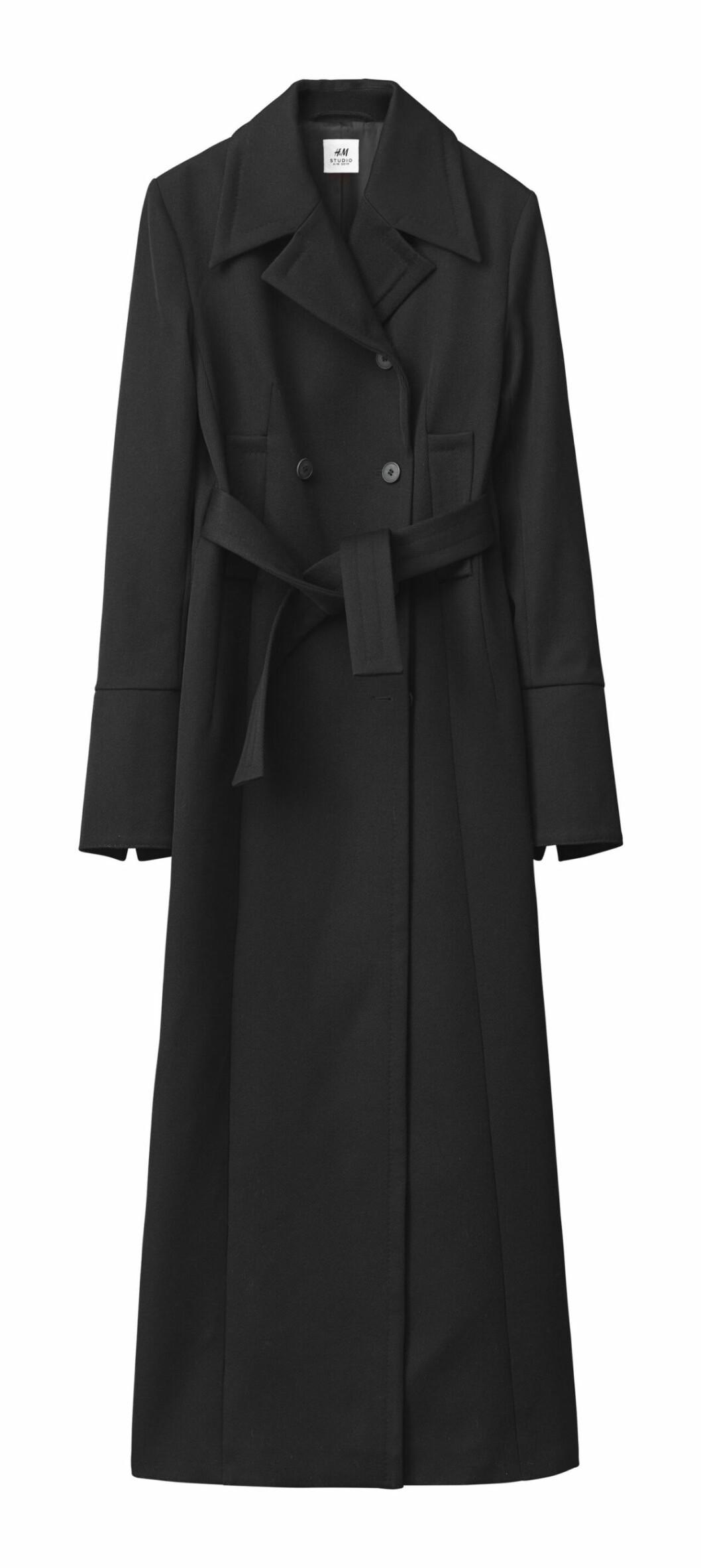H&M Studio höstkollektion aw 2019 – svart ullkappa i lång modell