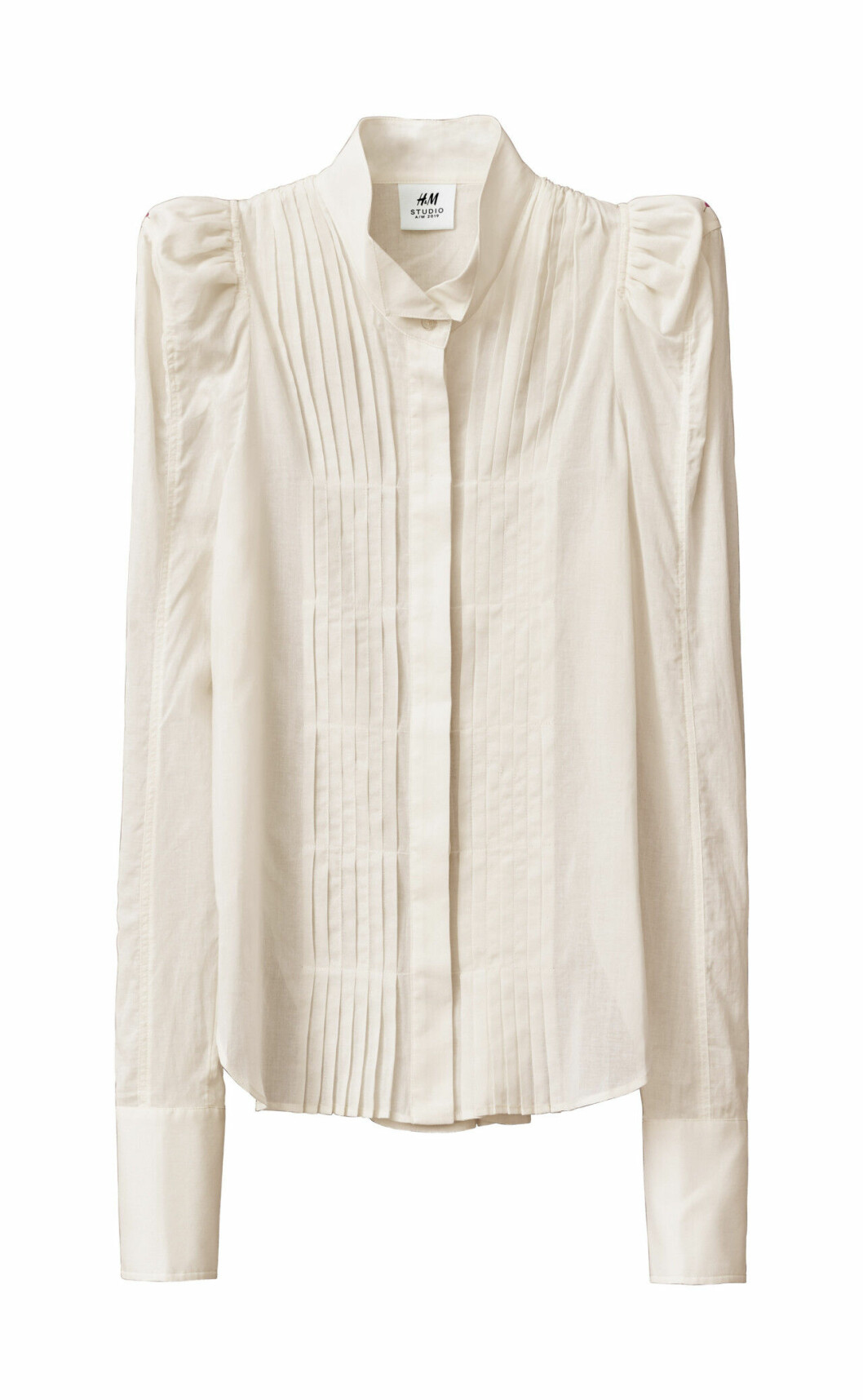 H&M Studio höstkollektion aw 2019 – vit blus med puffärm