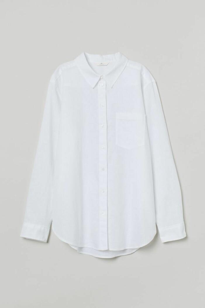 vit skjorta i linnemix från H&M