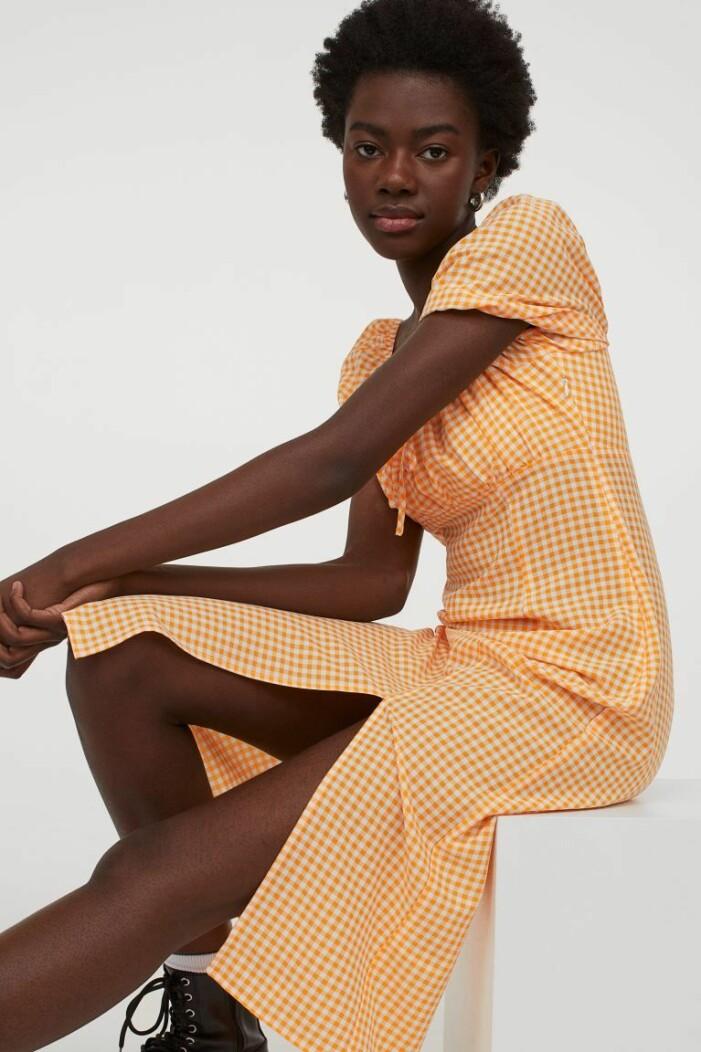 orange rutig klänning från H&M