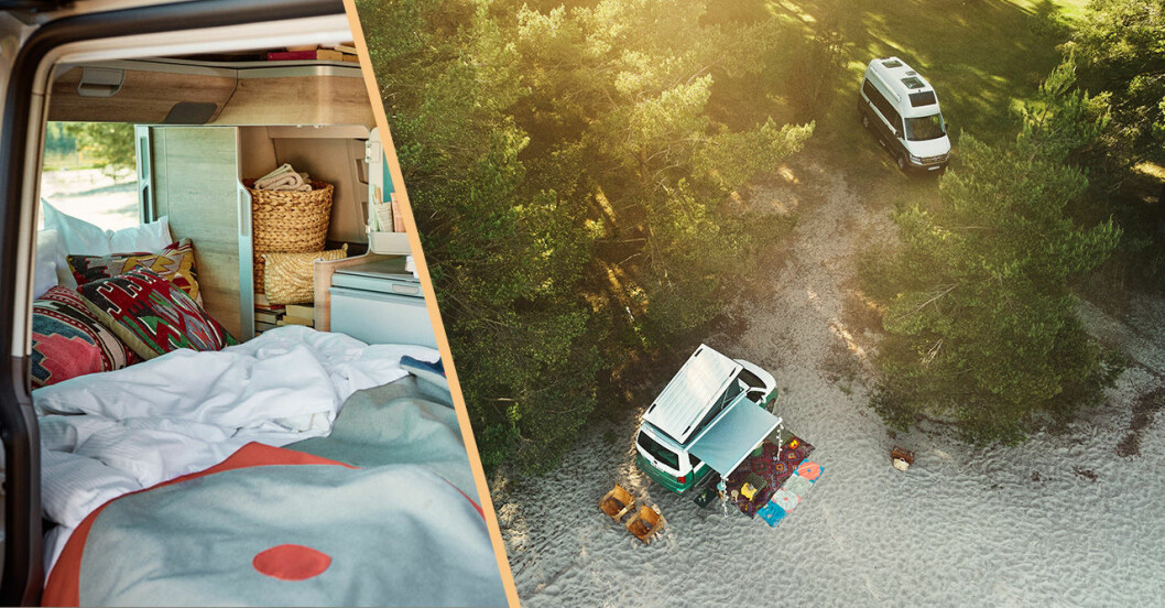 Strandcamping och interiör i husbilen