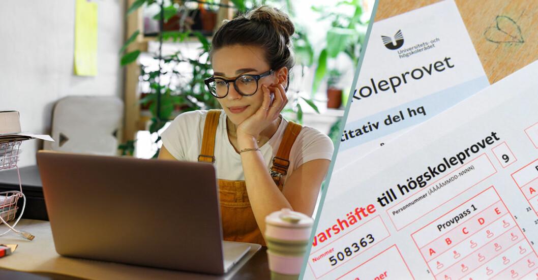 Kvinna vid dator högskoleprovet i Sverige