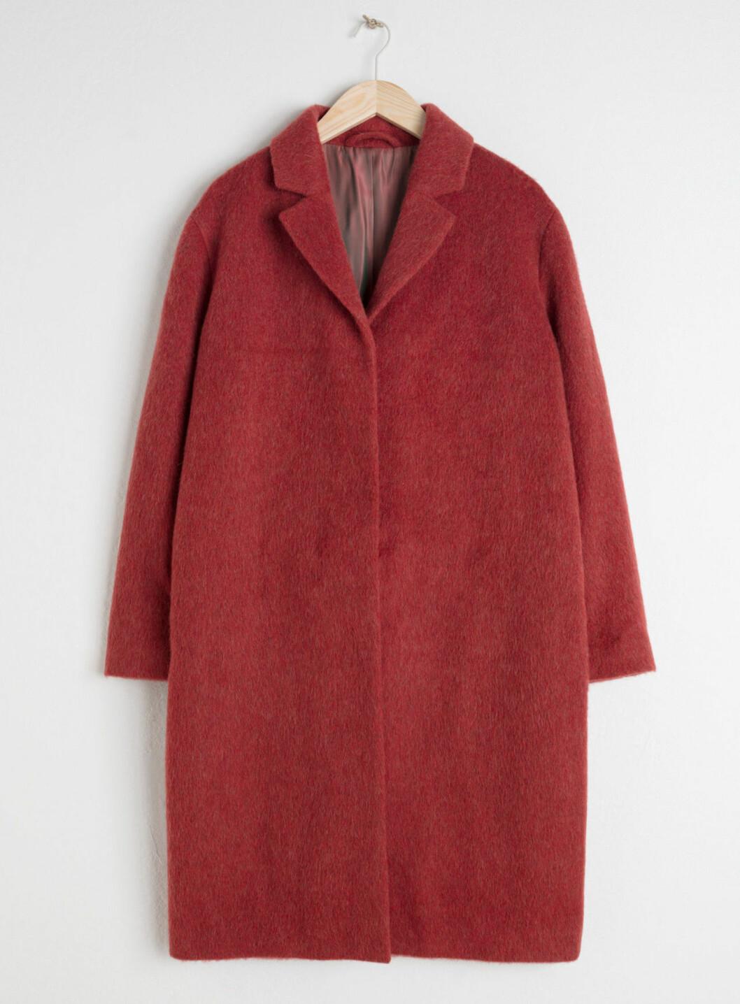 Röd höstkappa i ull
