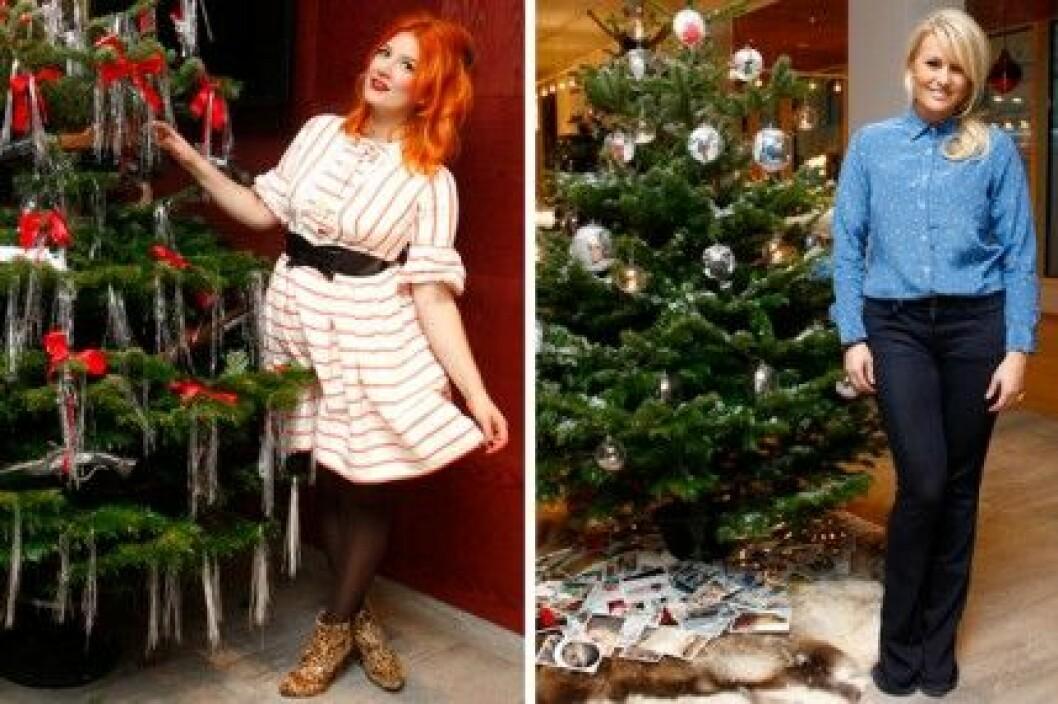 Elsa Billgren och Frida Fahrman med sina julgranar på Hotel Birger Jarl.