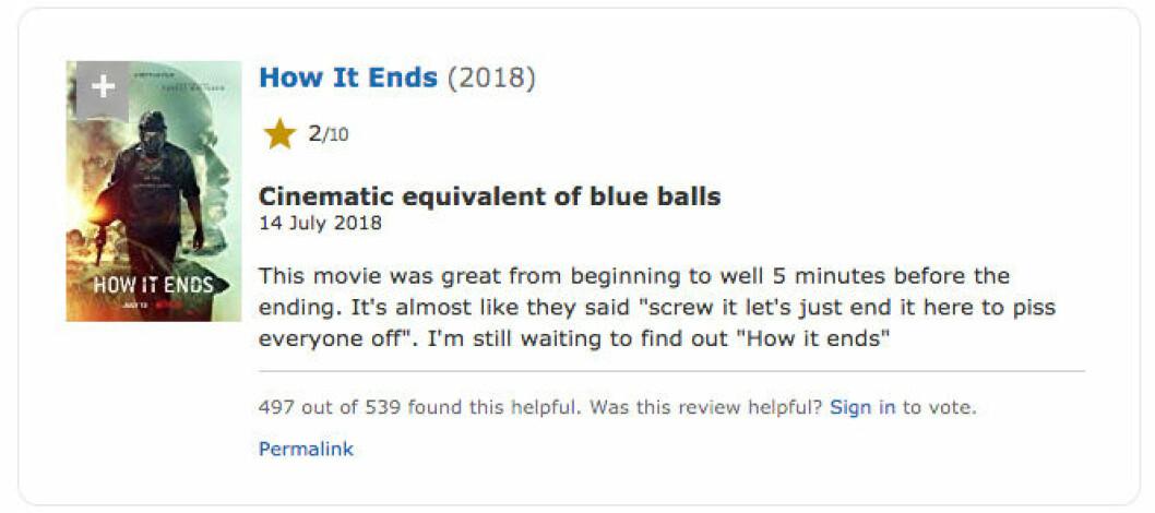 How it ends är Netflix mest hatade film just nu.