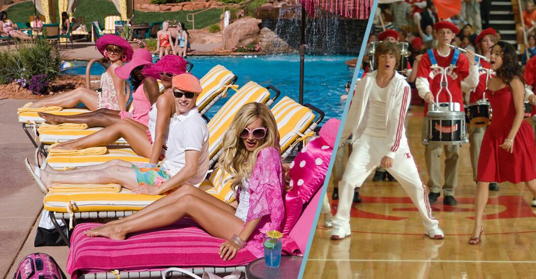 Till vänster, en printscreen från High School Musical 2 vid poolen. Till höger, en bild på Troy och Gabriella som dansar.