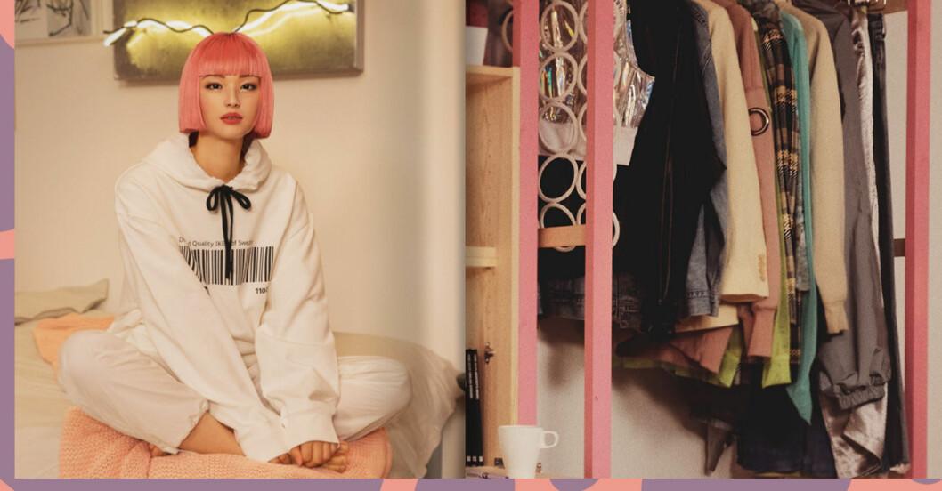 tjej med rosa hår i efterträda t-shirt