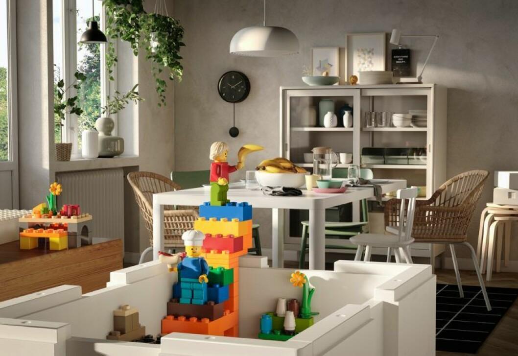 Ikea Lego samarbete bygglek klossar lekfullt vardgsrum