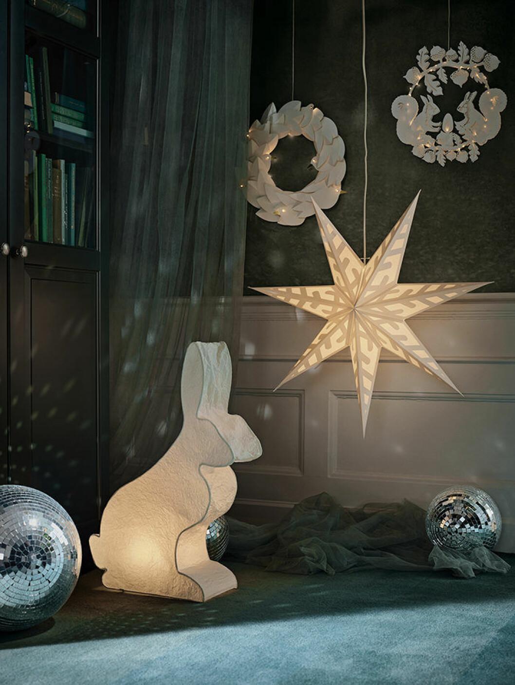 Julstjärna och dekorationsbelysning från Ikea