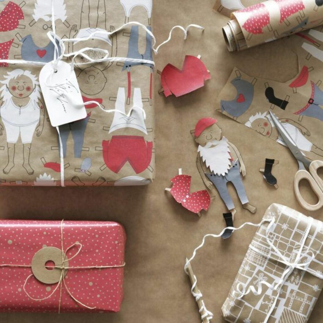 Kreativt julklappspapper som kan återanvändas från Ikea