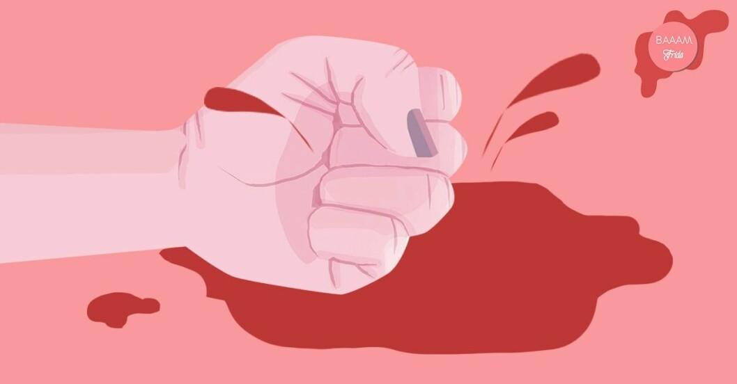 Knuten näve som slår i en blodpöl av mens.