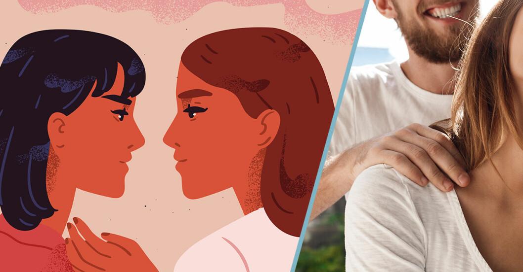 Två tecknade kvinnor som kollar varandra i ögonen/ En man som masserar en kvinna.