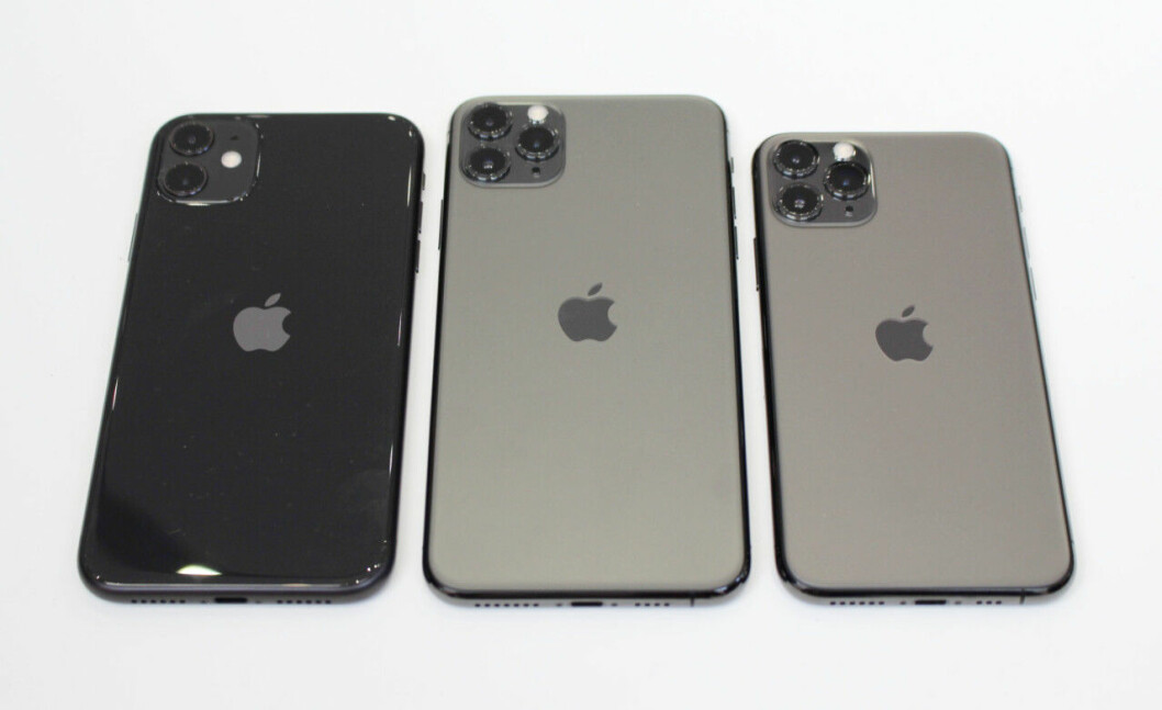 En bild på de nya Iphone-modellerna Iphone 11, Iphone 11 Pro Max och Iphone 11 Pro.