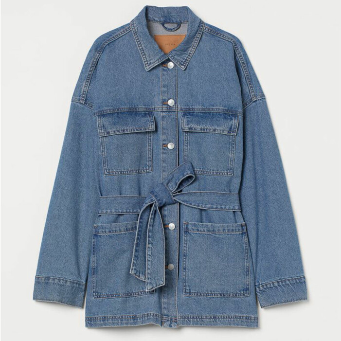 jeansjacka med skärp från H&M