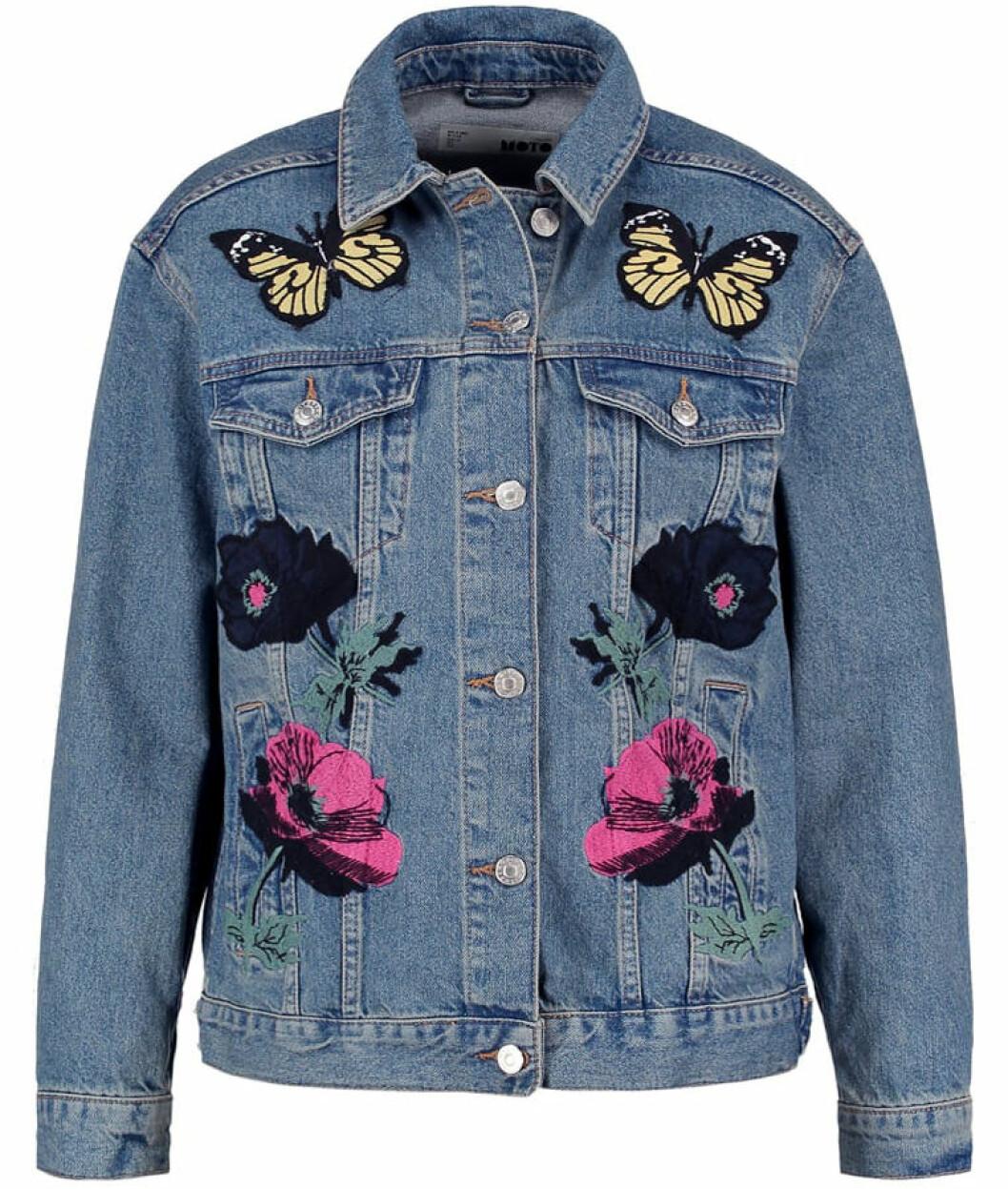 jeansjacka blommor