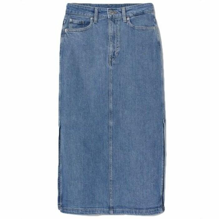 knälång jeanskjol från H&M