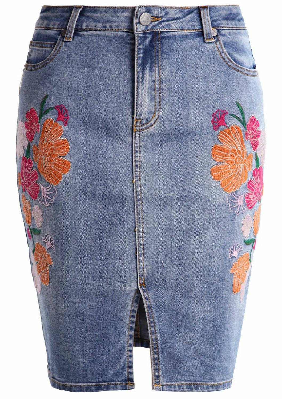 jeanskjol blommig