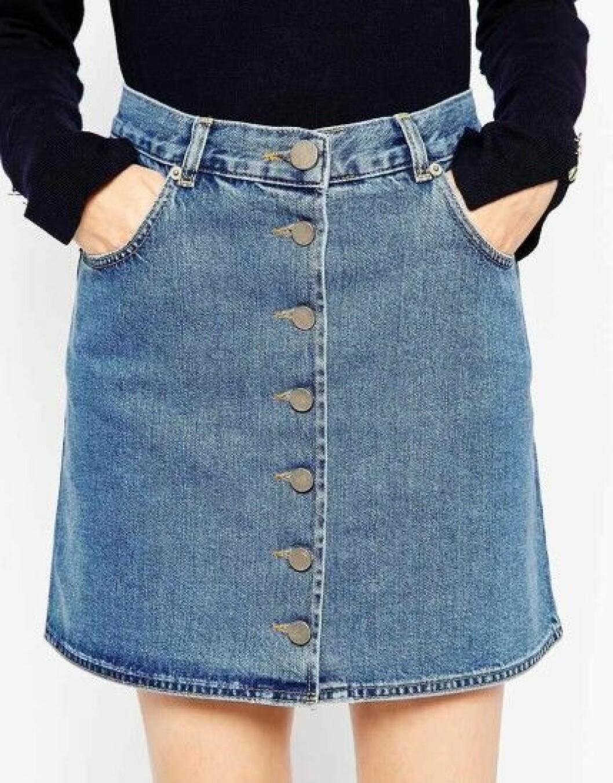 jeanskjol med knappar