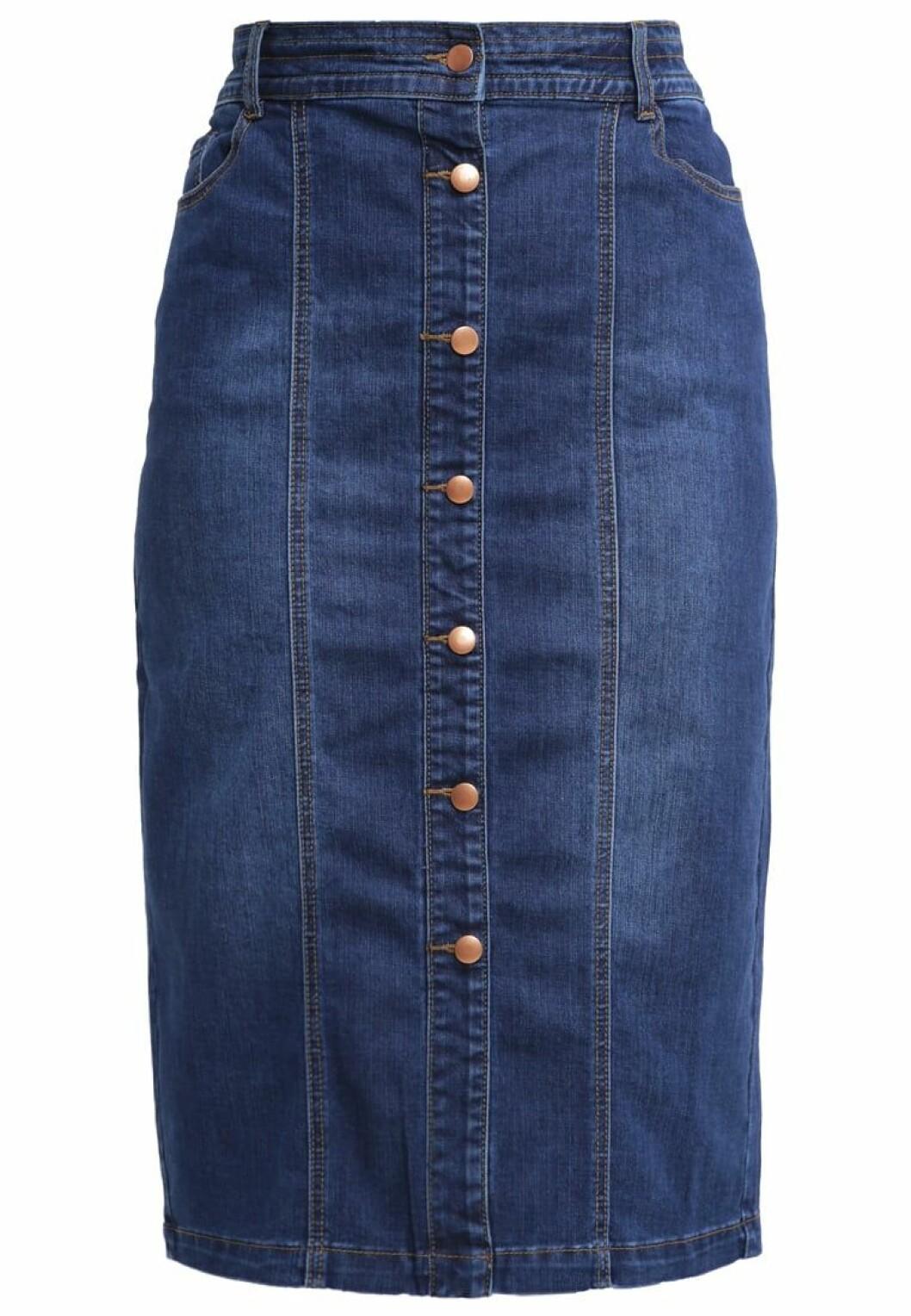 jeanskjol med knappar fram