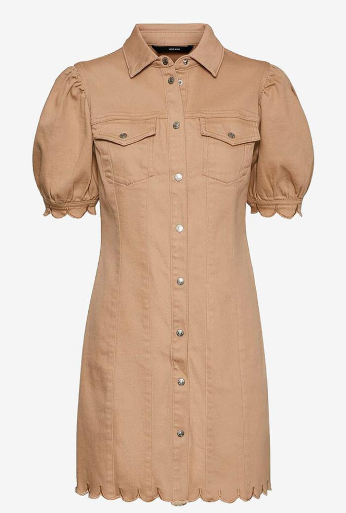 ljusbrun jeansklänning i denim