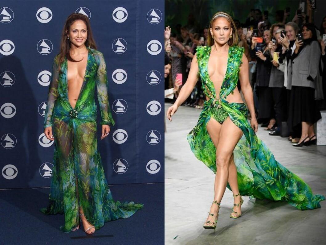 Jennifer Lopez i samma gröna klänning med 20 år emellan.