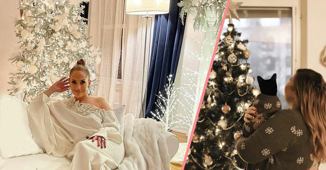 Jennifer Lopez och Linda-Marie Nilsson vid sina julgranar