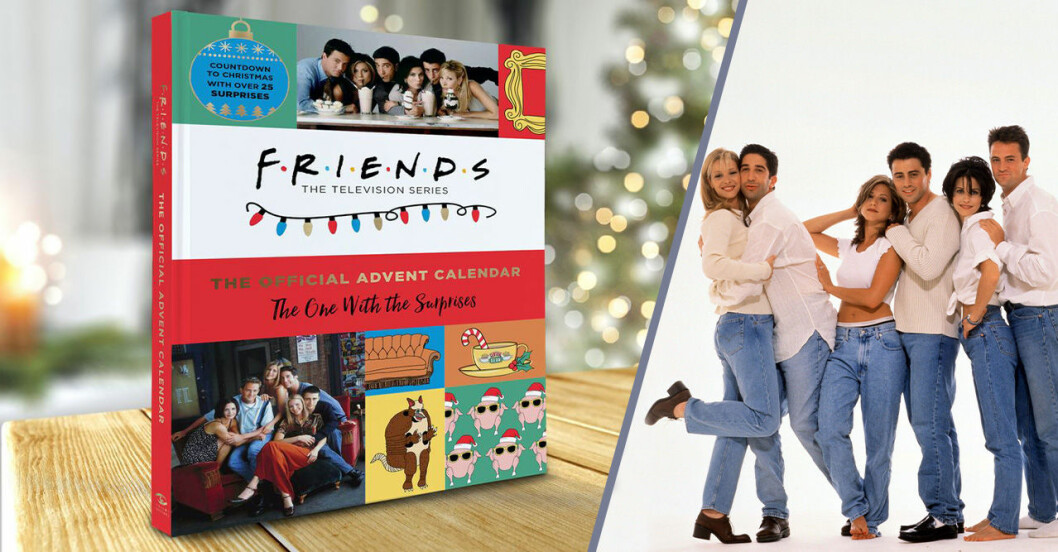 en julkalender bredvid en bild på gänget från vänner i vit överdel och jeans