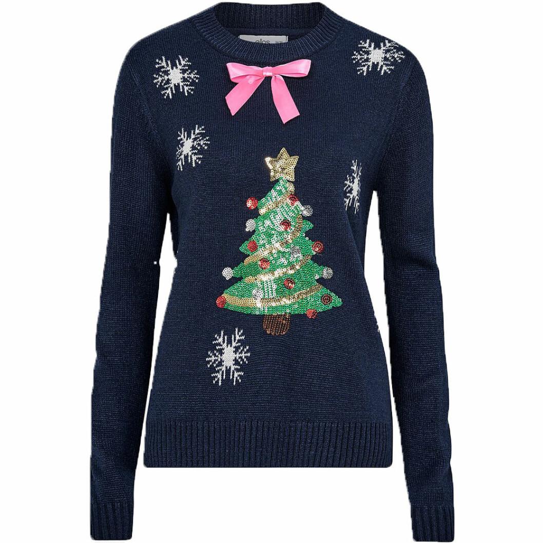 Blå jultröja med julgran