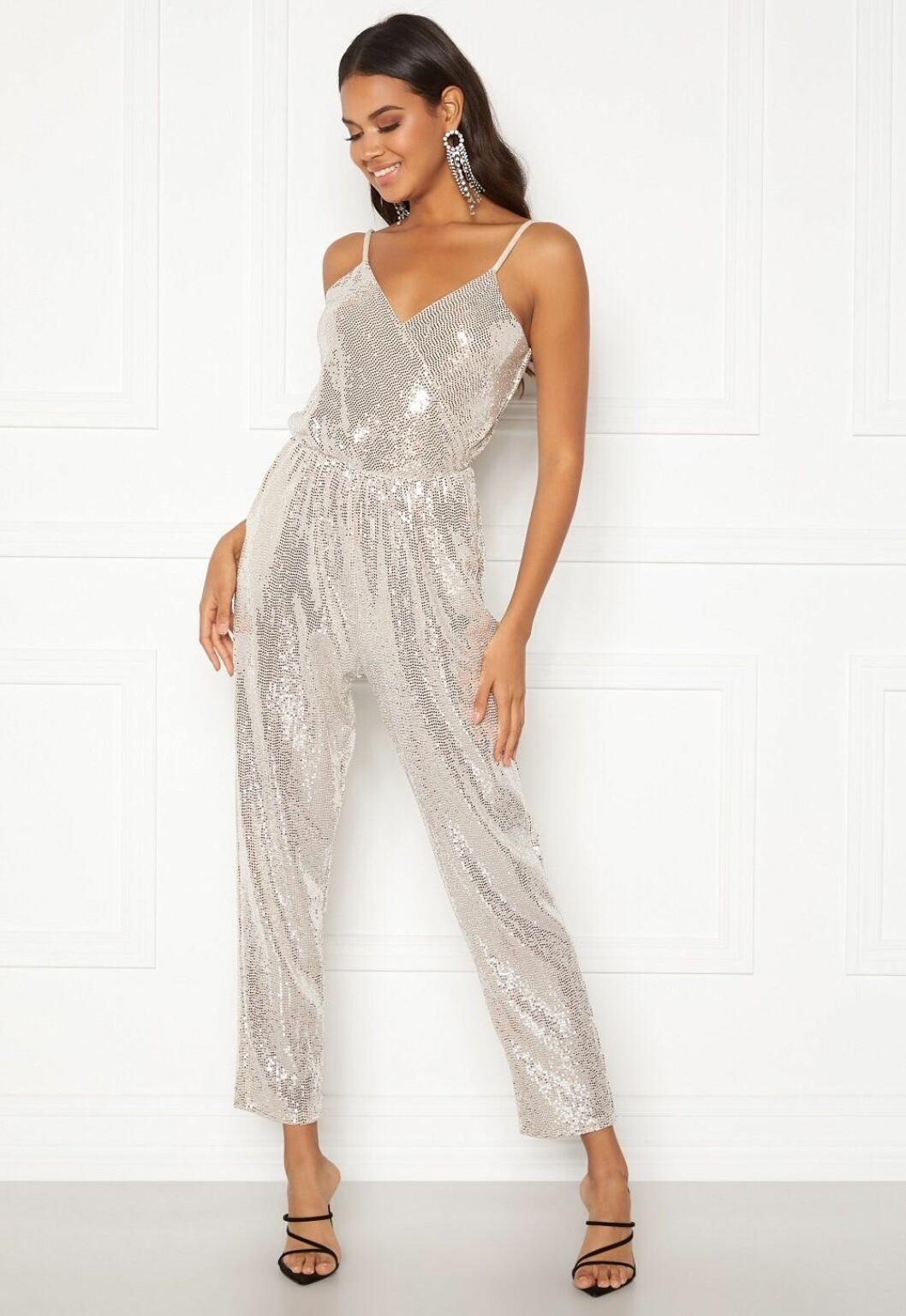 Silverglittrig jumpsuit med paljetter för dam till festen