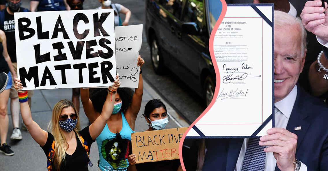 Juneteenth-demonstration i USA och Joe Biden som skrivit på för att göra minnesdagen för slaveriet till helgdag.