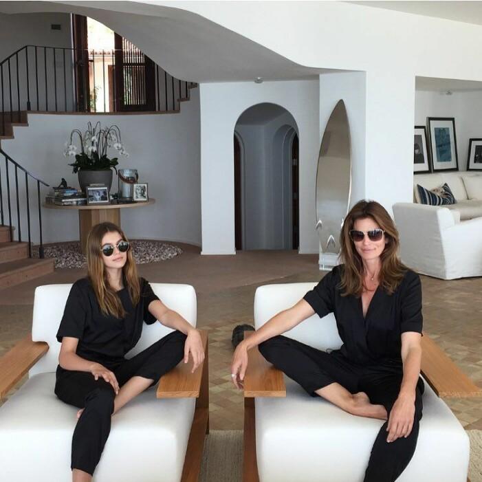 Kaia Gerber och Cindy Crawford hemma