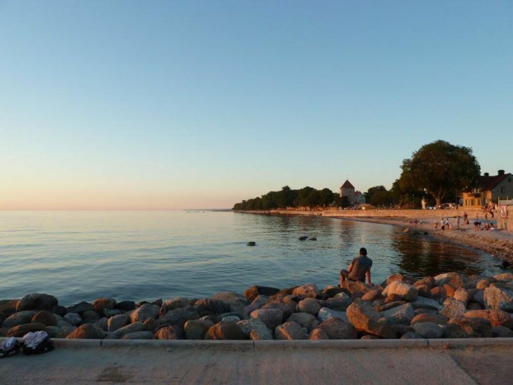 Stranden vid Kallbadhuset i Visby.