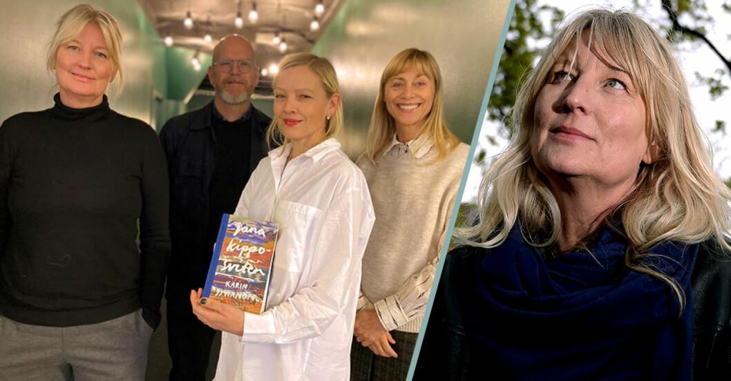 På bilden från vänster: Karin Smirnoff, Jonas Axelsson hennes förläggare på Polaris, Filmlance producent Anna Wallmark och Filmlance VD Hanne Palmquist. Foto: Malini Ahlberg/Filmlance.