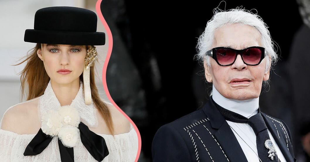 Nyligen avlidne Karl Lagerfeld och några av hans looks.