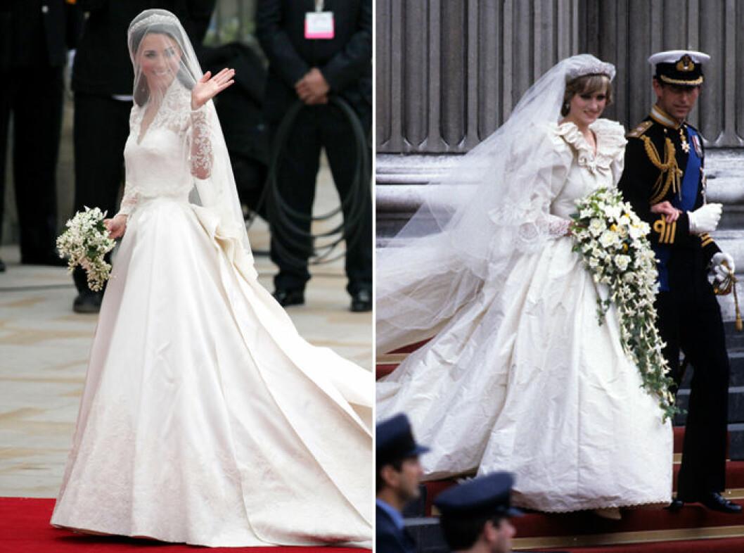Kate Middleton bar en bröllopsklänning från Sarah Burton/Alexander McQueen och prinsessan Dianas bröllopsklänning designades av Elizabeth Emanuel.