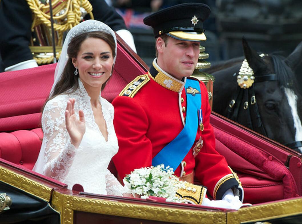 """Kate och Williams bröllop 2011 – Kate bar tiaran som går under namnet """"Cartier Halo Scroll""""."""