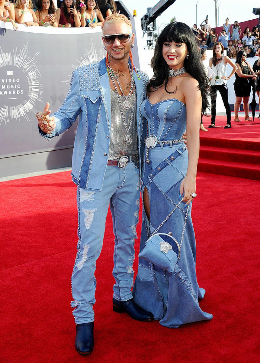 En bild på sångerskan Katy Perry och rapparen Riff Raff på MTV Video Music Awards 2014.